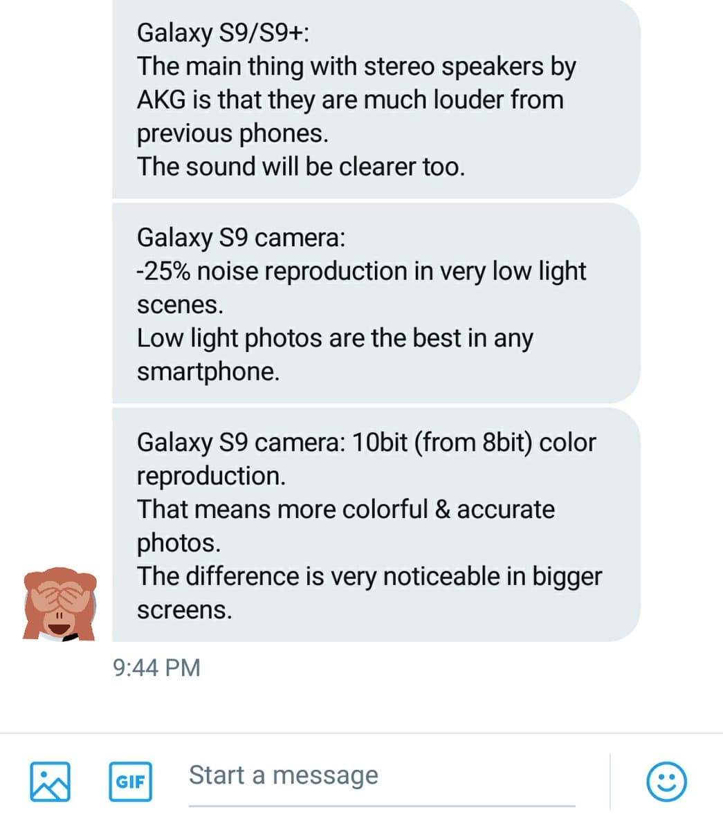 Industry-follower @Bang_gogo_ received quite a number of features that the S9 would come with through DMs on Twitter.