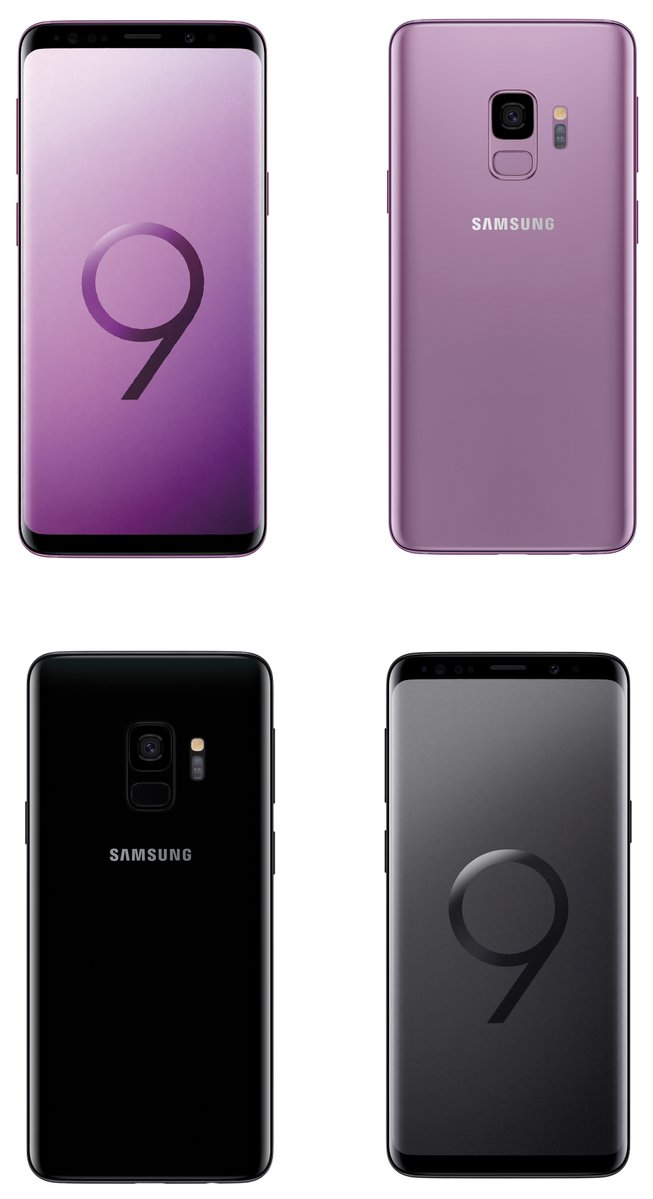 The Samsung Galaxy S9 in Purple and Black showcasing its front and rear.